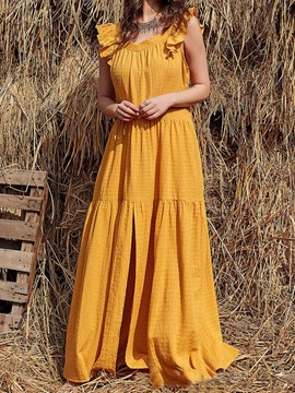 Ericdress Cap Sleeve Split Floor-Length A-Line Sweet Women's Dress