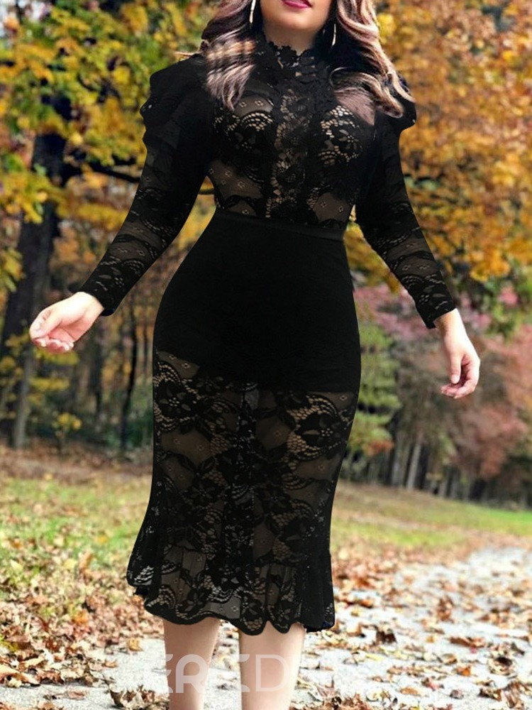 Ericdress Mid-Calf Long Sleeve Lace Bodycon Pullover Women's Dress