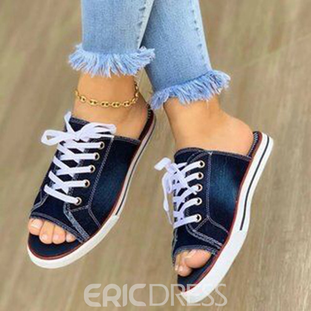 Ericdress Slip-On Flat With Lace-Up Plain Slippers