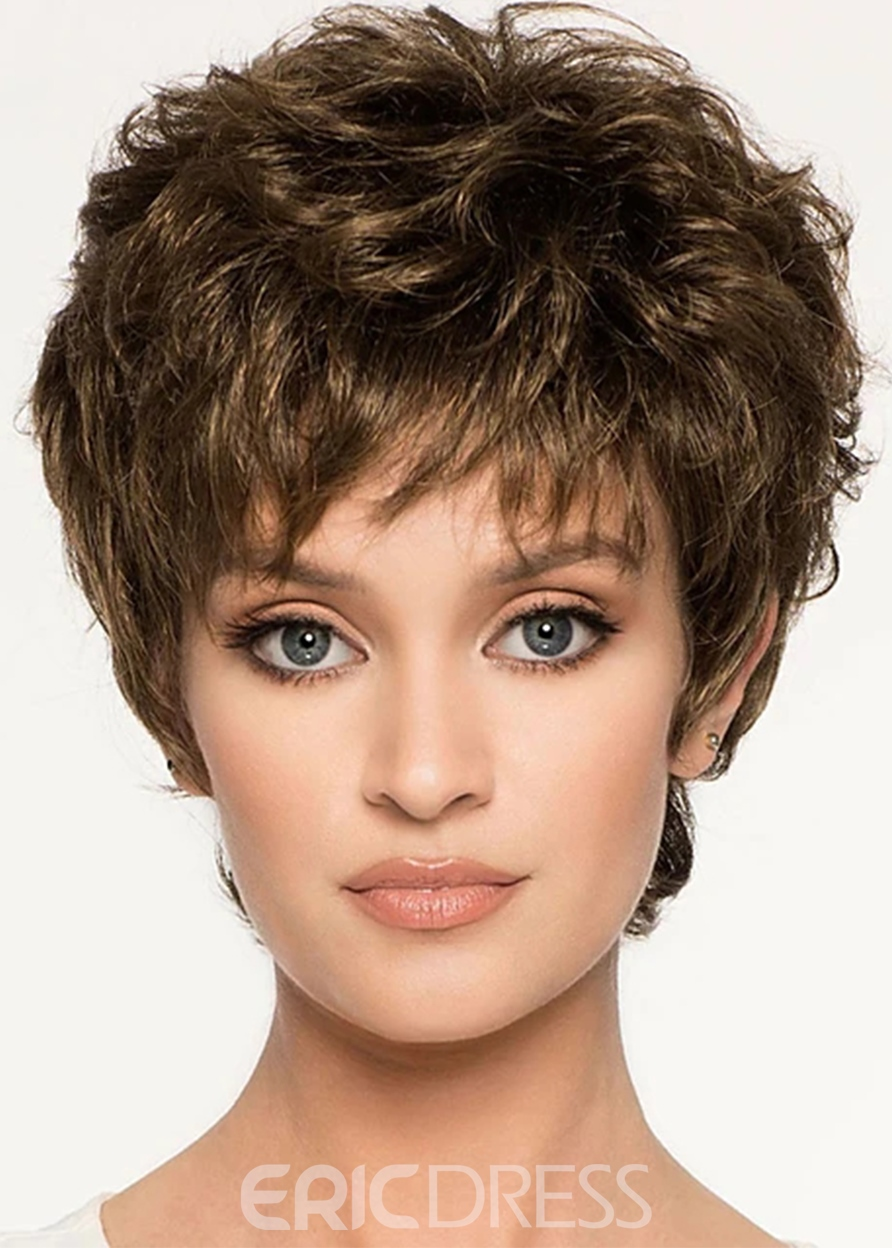 Ericdress Women's Short Layered Wavy Hairstyles Synthetic Hair Wigs With Bangs Capless Wigs 6Inch