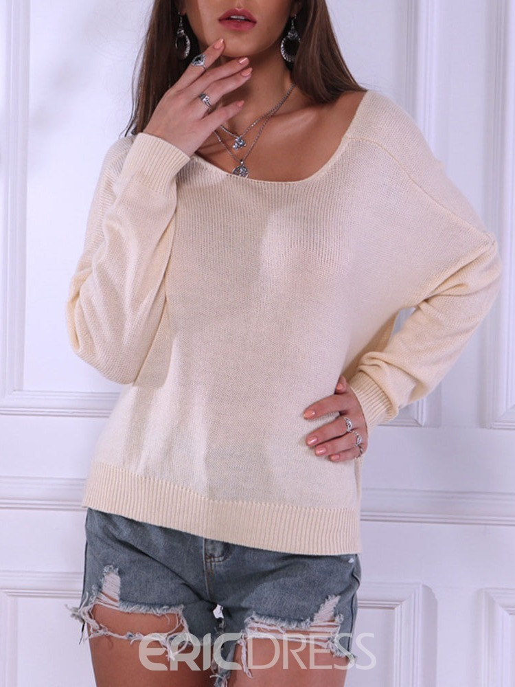Ericdress Thin Batwing Sleeve Reversible V-Neck Batwing Women's Sweater