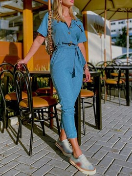 Ericdress Ankle Length Plain Button Pencil Pants Women's Jumpsuit