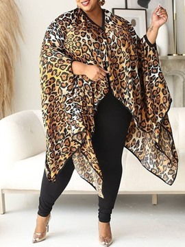 Ericdress Asymmetric Leopard Long Nine Points Sleeve Women's Blouse