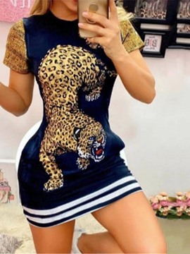 Ericdress Patchwork Round Neck Short Sleeve Bodycon Animal Women's Dress