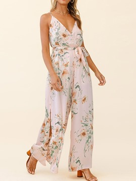 Ericdress Full Length Print Fashion Wide Legs Loose Women's Jumpsuit
