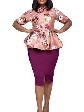 Ericdress Shirt Print Floral Bodycon Women's Two Piece Sets