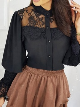 Ericdress Lantern Sleeve Lace Plain Standard Long Sleeve Women's Blouse