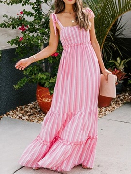 Ericdress Floor-Length Square Neck Patchwork Fashion Stripe Women's Dress