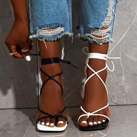 Ericdress Stiletto Heel Lace-Up Open Toe Western Sandals