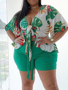 Ericdress Shorts Sexy Floral Lace-Up Pencil Pants Women's Two Piece Sets