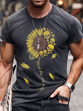 Ericdress Print Casual Floral Men's Slim Short Sleeve T-shirt