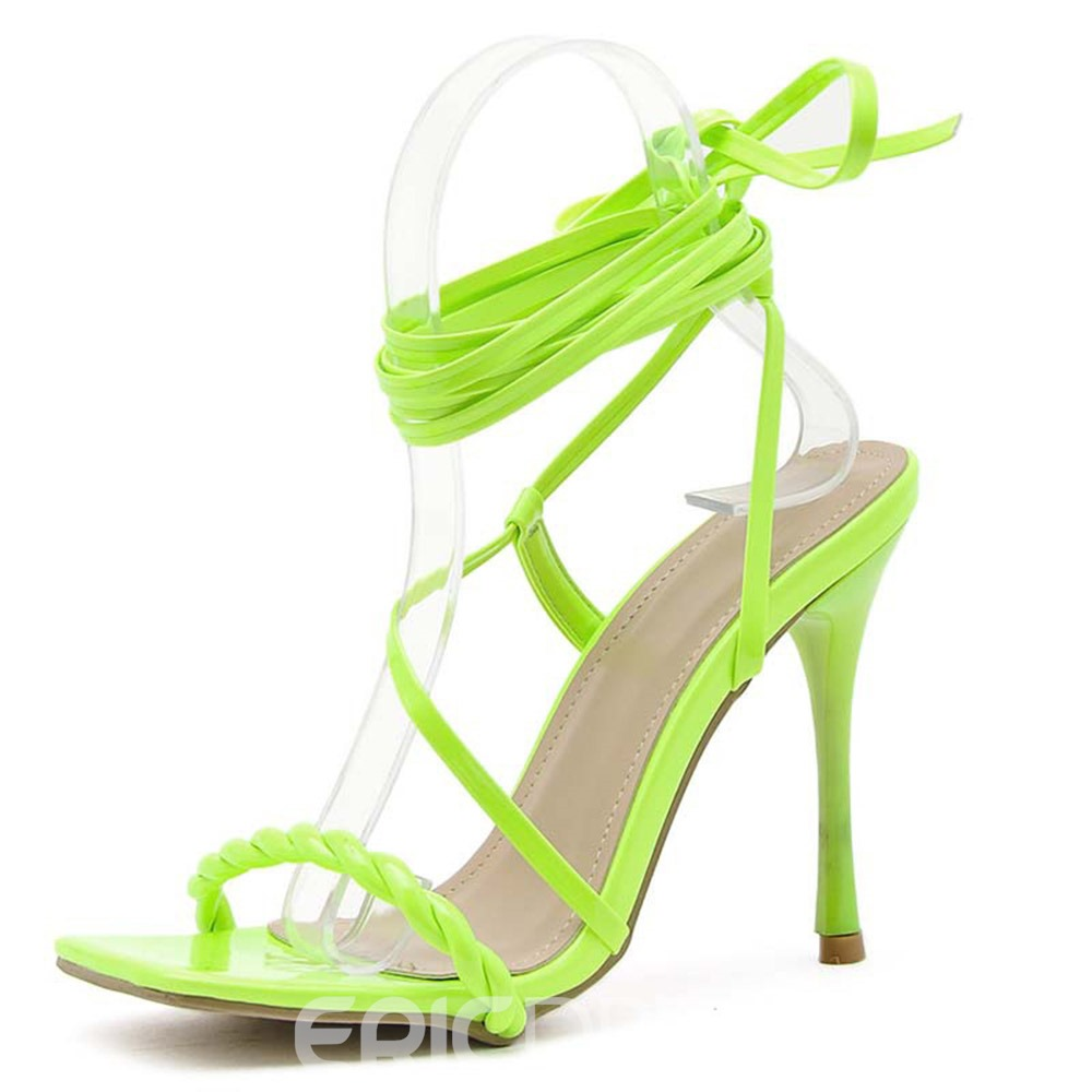 Ericdress Stiletto Heel Open Toe Lace-Up Cross Strap Sandals