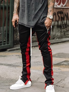 Ericdress Color Block Pencil Pants Patchwork Mid Waist Men's Casual Pants
