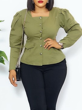 Ericdress Women's Plus Size Button Square Neck Plain Standard Long Sleeve Blouse
