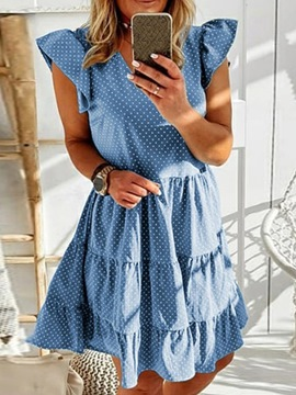 Ericdress V-Neck Patchwork Short Sleeve Fashion Women's Pullover Dress
