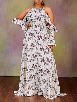 Ericdress Floor-Length Long Sleeve Print A-Line Floral Women's Plus Size Dress