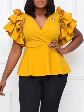 Ericdress Plain Patchwork V-Neck Standard Short Sleeve Women's Plus Size Blouse