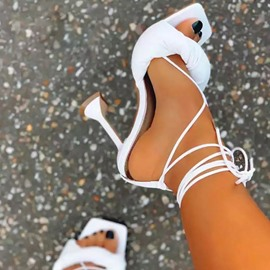 Ericdress Stiletto Heel Lace-Up Open Toe OL Sandals