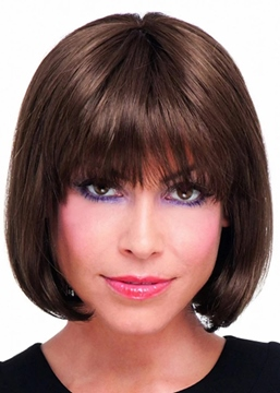 Ericdress Women's Short Bob Hairstyles Straight Human Hair Wigs With Bangs Capless Wigs 12Inch