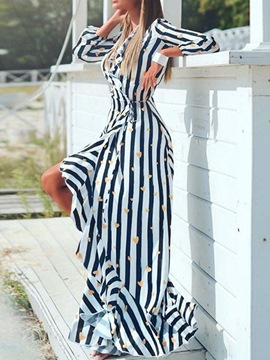ericdress patchwork longueur au sol neuf points manches rayure pull femme robe