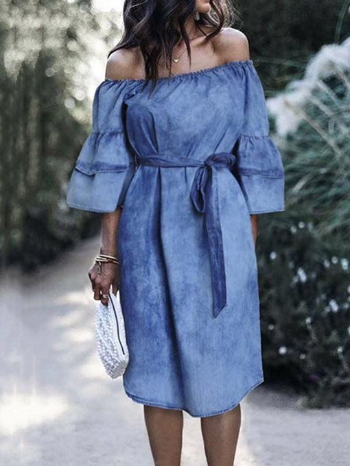 Ericdress Off Shoulder Three-Quarter Sleeve Lace-Up Sweet Pullover Dress