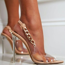 Ericdress Slingback Strap Stiletto Heel Pointed Toe Chain Sandals