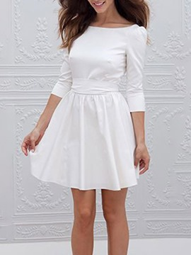 Ericdress Above Knee Three-Quarter Sleeve Backless Pullover Fashion Dress