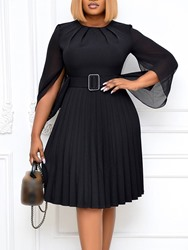Ericdress Three-Quarter Sleeve Knee-Length Patchwork High Waist Womens Plus Size Dress  - buy with discount