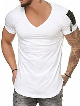 Ericdress European V-Neck Color Block Short Sleeve Pullover Men's T-shirt