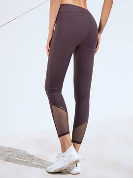 Ericdress Breathable Solid Patchwork Ankle Length Running Pants Yoga Pants High Waist Tiktok Leggings