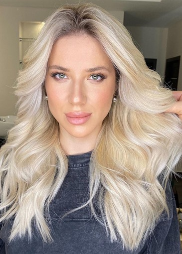 Ericdress Natural Looking Women's Blonde Color Long Wavy Human Hair Lace Front Cap Wigs 24 Inch