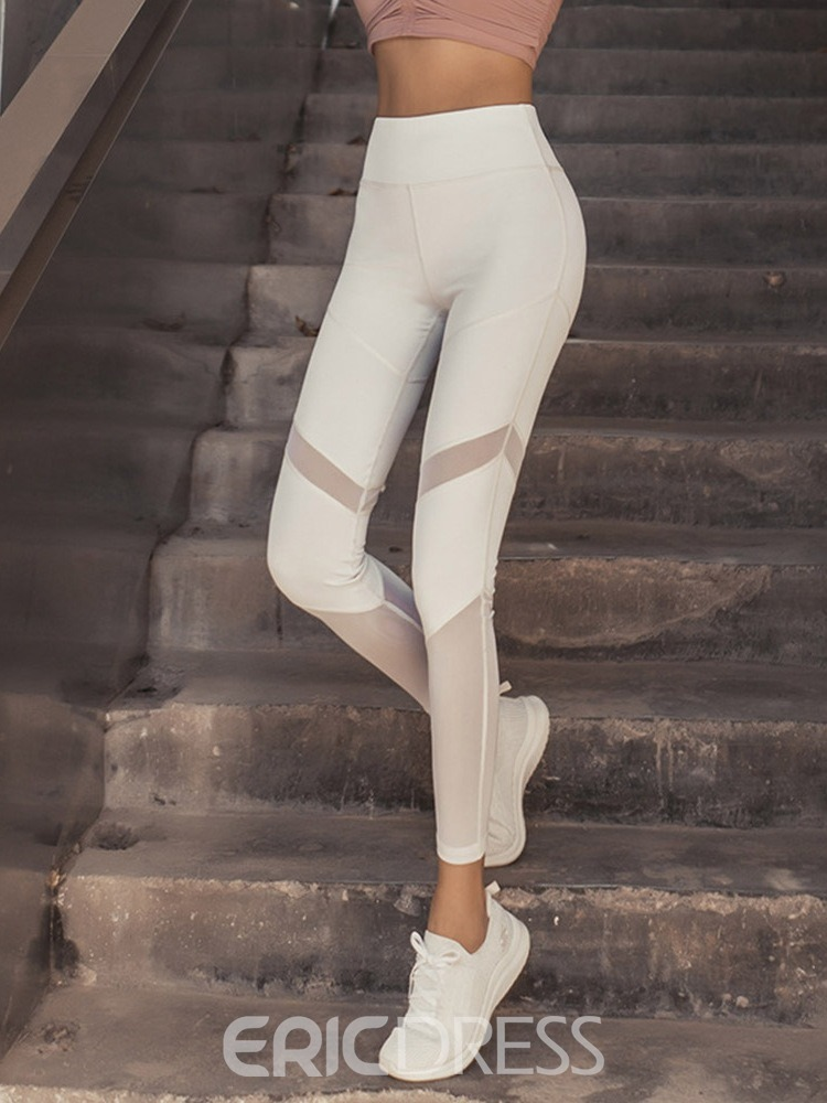 Ericdress Patchwork Breathable Solid Female Ankle Length Pants Yoga Pants High Waist Tiktok Leggings
