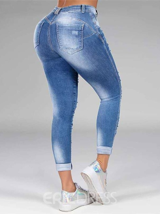 Ericdress Hole Straight Plain Zipper Mid Waist Women's Jeans