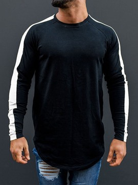 Ericdress European Plain Round Men's Neck Long Sleeve T-shirt