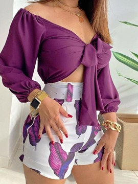 Ericdress Shirt Floral Patchwork V-Neck Lace-Up Women's Two Piece Sets