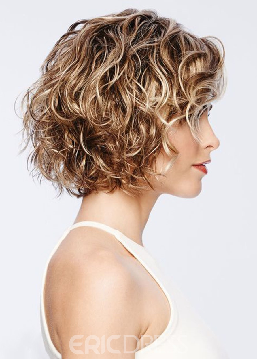 Ericdress Short Curly Hairstyles Women's Blonde Color Capless Wigs 100% Human Hair Wigs 14Inch