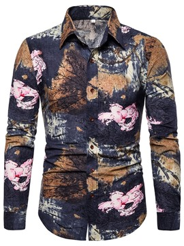 Ericdress Print Floral Lapel Single-Breasted Spring Men's Shirt