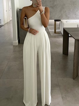 Ericdress Full Length Patchwork Plain High Waist Wide Legs Women's Jumpsuit