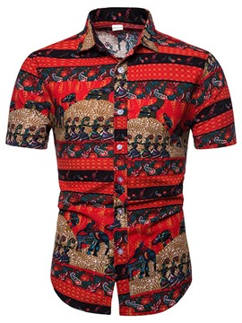 Ericdress Color Block Ethnic Print Men's Single-Breasted Shirt