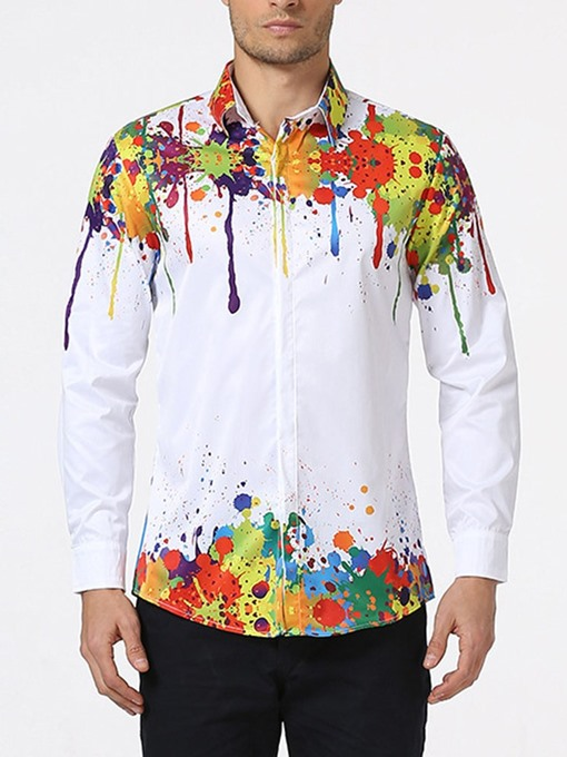 Ericdress Floral Print Lapel Fall Men's Slim Single-Breasted Shirt