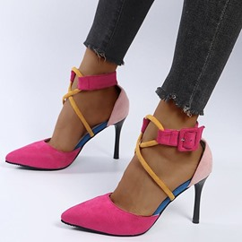 Ericdress Pointed Toe Stiletto Heel Buckle Low-Cut Upper Thin Shoes
