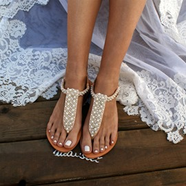 Ericdress Slip-On Thong Flat With Plain Sandals