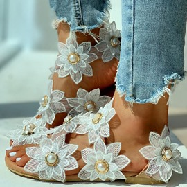 Ericdress Strappy Flat With Peep Toe Appliques Sandals