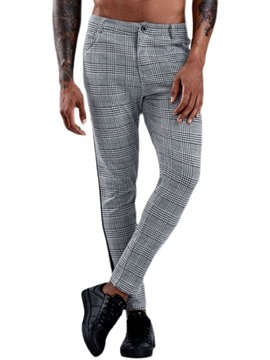 Ericdress Patchwork Plaid Straight Men's Blazer Trousers