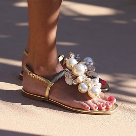 Ericdress Flat With Buckle Thong Beads Sandals