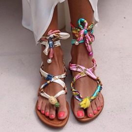 Ericdress Flat With Thong Lace-Up Western Sandals