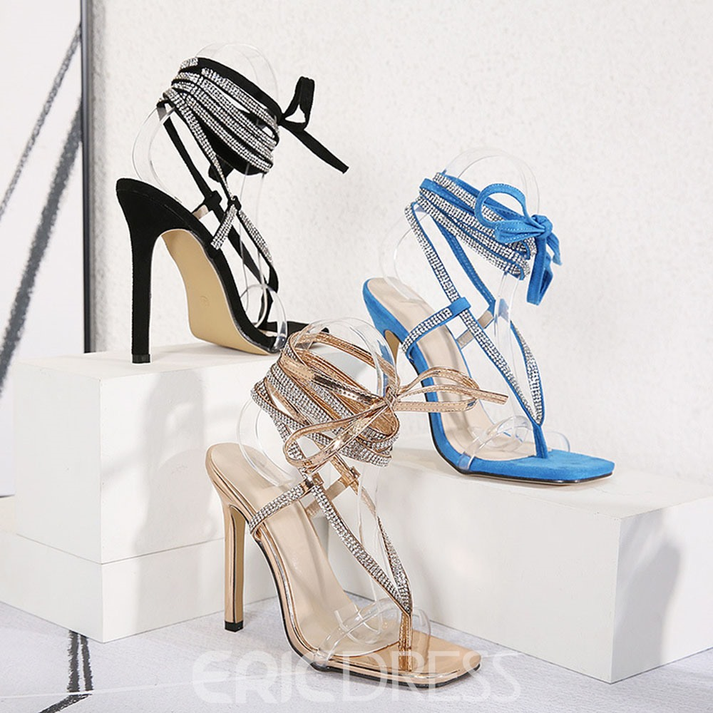 Ericdress Line-Style Buckle Stiletto Heel Square Toe Woemn's Casual Sandals