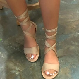 Ericdress Flat With Open Toe Lace-Up OL Sandals