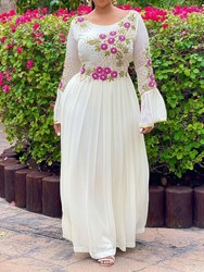 Ericdress Long Sleeve Embroidery Ankle-Length A-Line Floral Womens Plus Size Dress