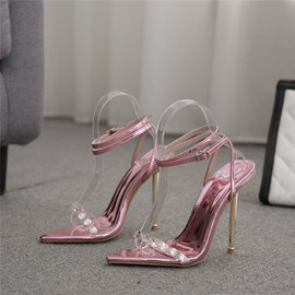 Ericdress Line-Style Buckle Chunky Heel Round Toe Color Block Sandals